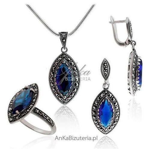 Elegancki komplet z markazytami i niebieskimi cyrkoniami, kolor niebieski - foto Elegancki komplet z markazytami i niebieskimi cyrkoniami, kolor niebieski