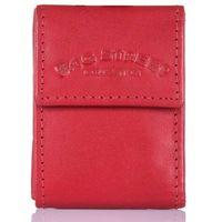 Mały czerwony portfel skórzany etui na klucze
