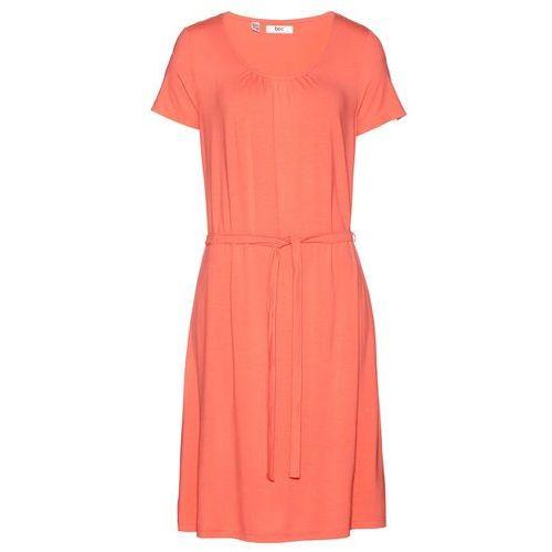Bonprix Sukienka ze stretchem, krótki rękaw łososiowy