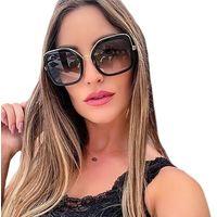 Okulary przeciwsłoneczne damskie czarne złote duże - czarne