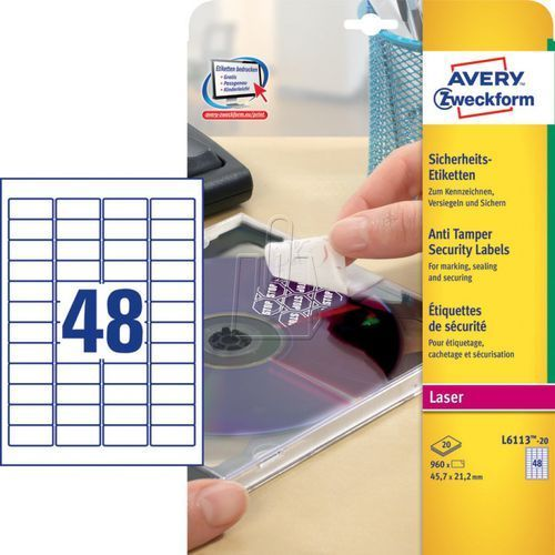 etykiety zabezpieczające plomby void, 45,7 x 21,2mm, białe, do drukarki, 960 sztuk marki Avery zweckform