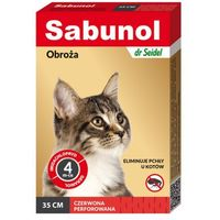 Dermapharm sabunol czerwona obroża przeciw pchłom dla kotów 35 cm dostawa gratis od 99 zł + super okazje