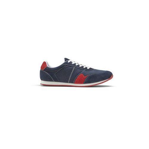 Buty sznurowane ze skóry bonprix niebiesko-czerwony, kolor niebieski