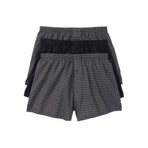 Bokserki z tkaniny (3 pary) bonprix dymny szary -czarny wzorzysty + czarny, bawełna