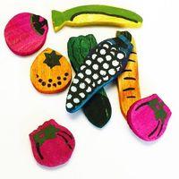 Zestaw 8 drewnianych zabawek dla gryzonia - warzywa i owoce