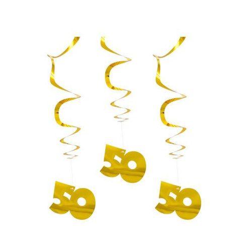 Dekoracja wisząca Złote Gody - 70 cm - 3 szt. (8714572651325)