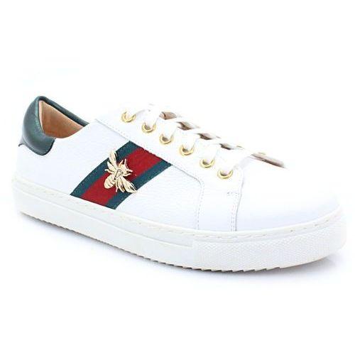 086 białe - modne trampki z owadem - biały marki Tymoteo