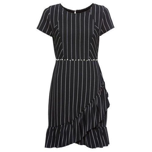 4abcd80bf Bonprix Sukienka z dżerseju z perełkami czarno-biały w paski