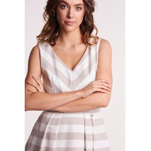 b038006a59 Zobacz ofertę L  39 ame de femme Rozkloszowana sukienka w szerokie pasy