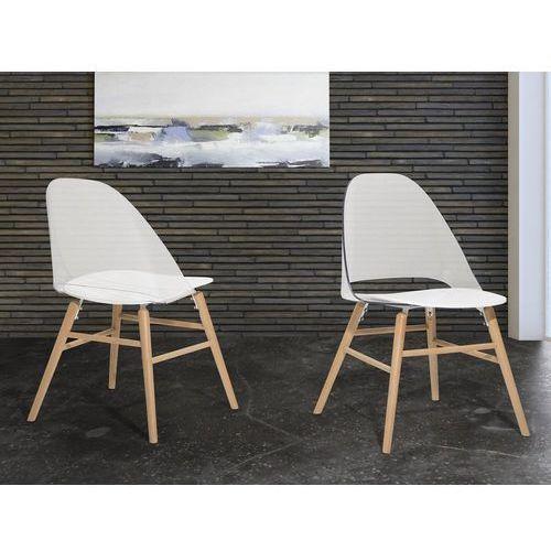 Krzesło Przeźroczysto Białe Krzesło Do Jadalni Kuchni Milford Beliani