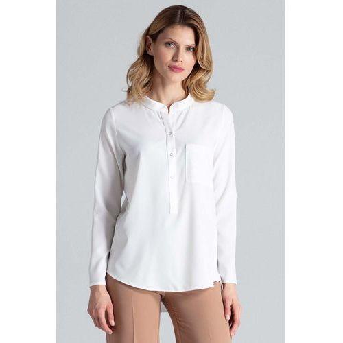 Ecru bluzka koszulowa w liście ze stójką, 1 rozmiar