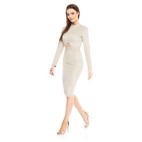 Sukienka Jen w kolorze beżowym, kolor beżowy
