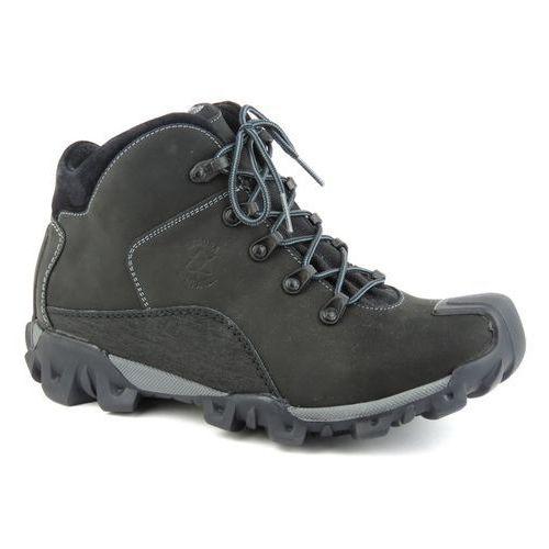 Trzewiki męskie trekkingowe BADURA 4163 - czarny, kolor czarny