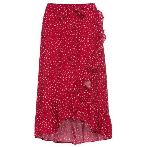 cf2a2e3e9ba710 Spódnica kopertowa bonprix czerwono-biel wełny w groszki, w 6 rozmiarach -  Fotografia produktu