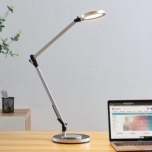 Lampka biurkowa LED Rilana z ściemniaczem, srebrna