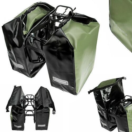 CO1010.30.94 Sakwy rowerowe Crosso DRY SMALL 30l Oliwkowe zestaw na tył / przód