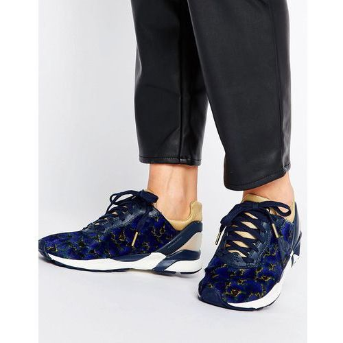 Le coq sportif navy floral print pony hair r xvi trainers - red