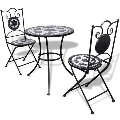 Stolik I 2 Składane Krzesła Ogrodowe Mozaika Zestaw Ogr1 Vidaxl