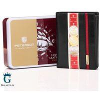 Pionowy portfel skórzany black&red peterson 339.04