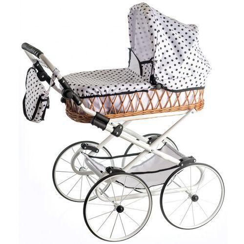 Teddies wózek dla lalek monika retro, biały w kropki (5908311399200)