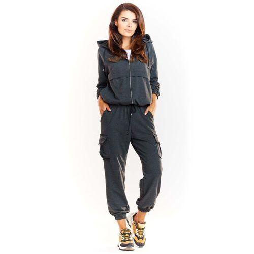 Infinite you Grafitowe dresowe spodnie z kieszeniami typu cargo
