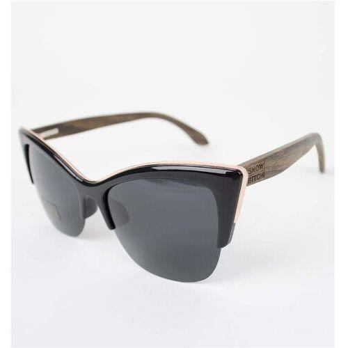 okulary słoneczne SNOWBITCH - Black frame Ebony wood arms with Smoke lens 12 (BLACK), kolor żółty