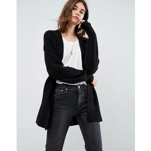 ASOS Chunky Knit Cardigan In Wool Mix - Black, kolor czarny