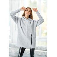 Długa nowoczesna bluza z podwójnym zamkiem - jasnoszara