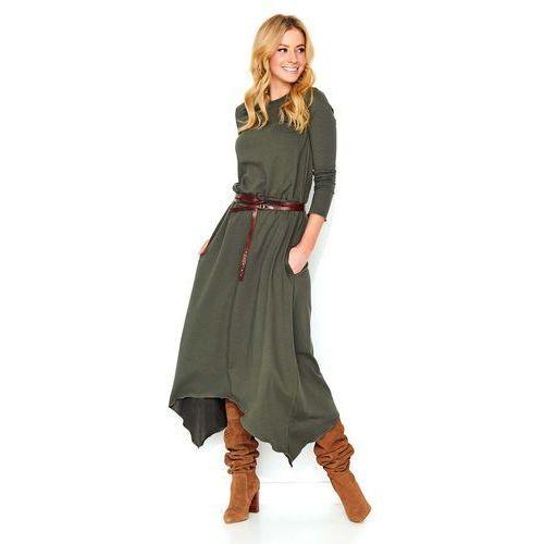 714e58ba37 Zobacz ofertę Khaki Asymetryczna Długa Sukienka Dzianinowa