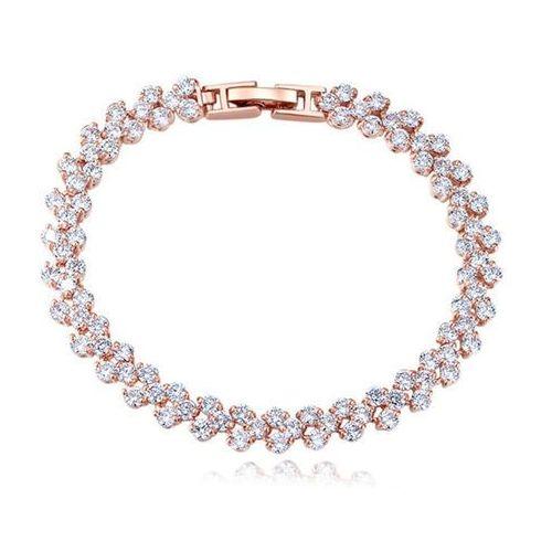 Br599/822 BRANSOLETKA ślubna różowe złoto z cyrkoniami