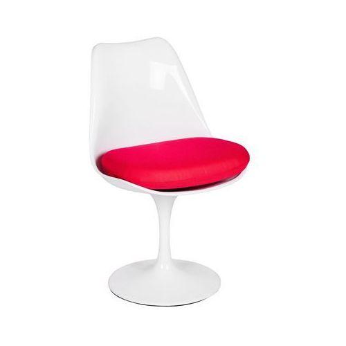 Krzesło plastikowe z poduszką TULIP białe z czerwoną poduszką - ABS, podstawa metalowa, PC-08 BIALE.CZERWONA (7812172)