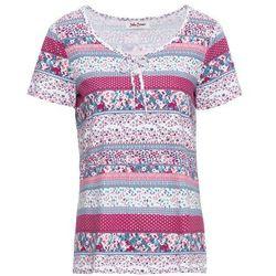 Bonprix T-shirt z wiązanym troczkiem i nadrukiem, krótki rękaw biały z nadrukiem