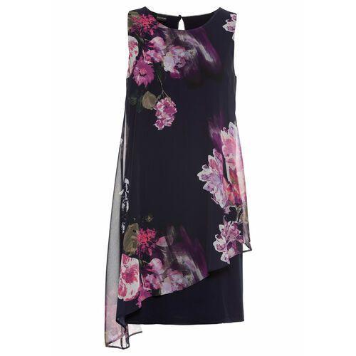 6ff1f65c44 Sukienka z dżerseju z szyfonową wstawką bonprix ciemnoniebieski w kwiaty