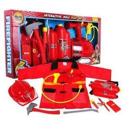 Wg Ogromny zestaw strażaka (10-el.): kamizelka+gaśnica+hełm+odznaka+zegarek+toporek+latarka+krótkofal..