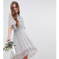 Maya Tall Sequin Cape Detail Midi Bridesmaid Dress With High Low Hem - Grey