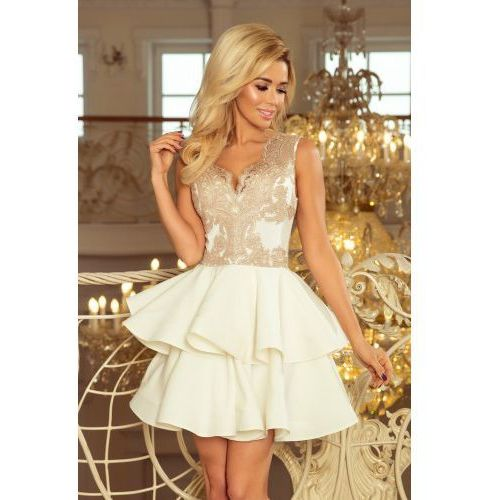 64ce052799 200-1 CHARLOTTE - ekskluzywna sukienka z koronkowym dekoltem - ZŁOTY ...