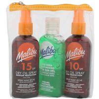 Malibu Dry Oil Spray SPF15 zestaw 100 ml Suchy olejek do opalania SPF15 + suchy olejek do opalania SPF10 100 ml + Żel po opalaniu Aloe Vera dla kobiet