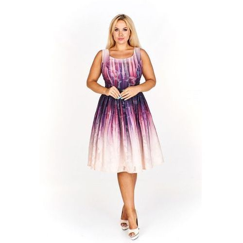 Kolorowa Rozkloszowana sukienka do kolan na wesele, 38-48
