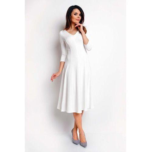 229a72c30a8d37 Zobacz w sklepie Ecru Elegancka Rozkloszowana Sukienka z Dekoltem V. Nommo