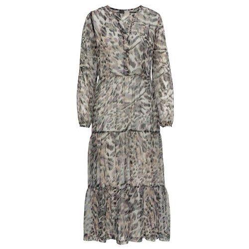 cf15e5e2ba Zobacz ofertę Bonprix Prześwitująca sukienka z nadrukiem w kwiaty i  animalistyczny deseń biało-lila-zielony w