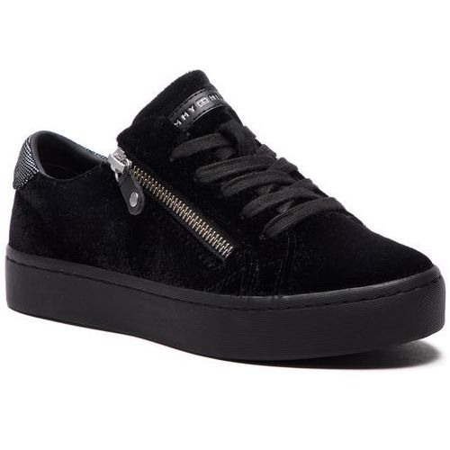 84395acc940c2 Sneakersy TOMMY HILFIGER - Structured Velvet Dress Sneaker FW0FW03968 Black  990, kolor czarny - Fotografia