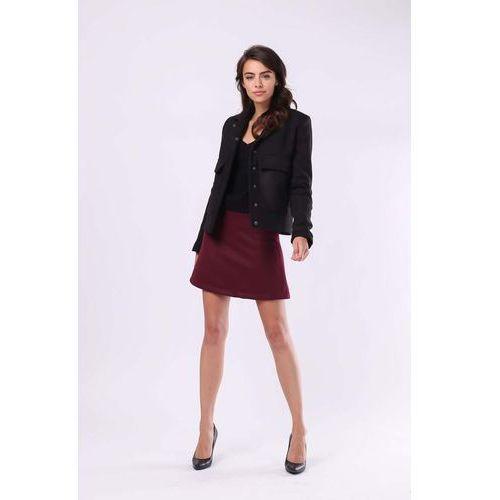 Nommo Czarna przejściowa krótka kurtka z dużymi kieszeniami
