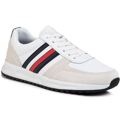 Tommy hilfiger Sneakersy - modern corporate leather runner fm0fm02662 white ybs