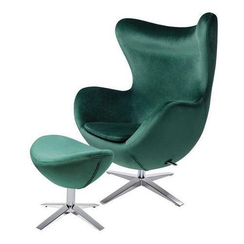 Fotel egg szeroki velvet z podnóżkiem ciemny zielony.18 - welur, podstawa stal marki King home