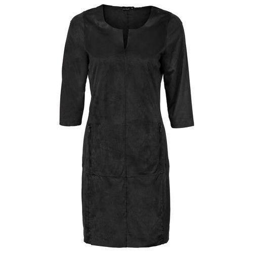 Sukienka ze sztucznej skóry welurowej bonprix czarny