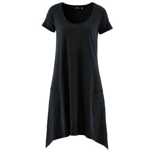 Sukienka z przędzy mieszankowej, krótki rękaw bonprix czarny