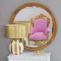 Lustro okrągłe, złota, drewniana rama.