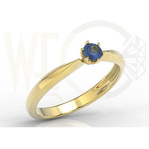 Pierścionek zaręczynowy z żółtego złota z szafirem model ap 3620b marki Węc  twój jubiler