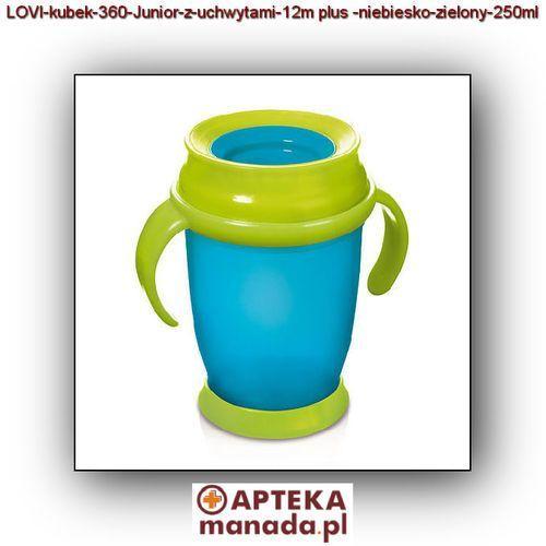 LOVI kubek 360 Junior z uchwytami 12m+ niebiesko-zielony 250ml