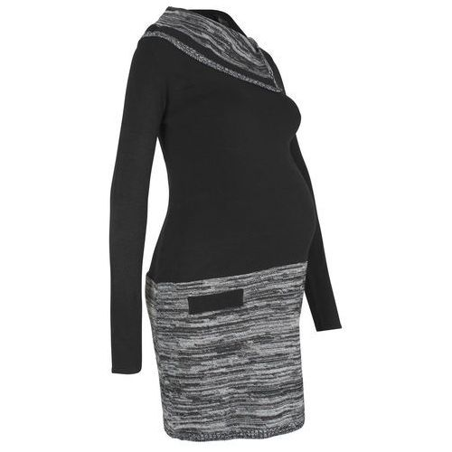 Sukienka ciążowa dzianinowa czarno-szary marki Bonprix